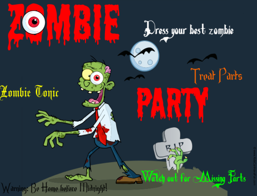 zombie-party-sign web